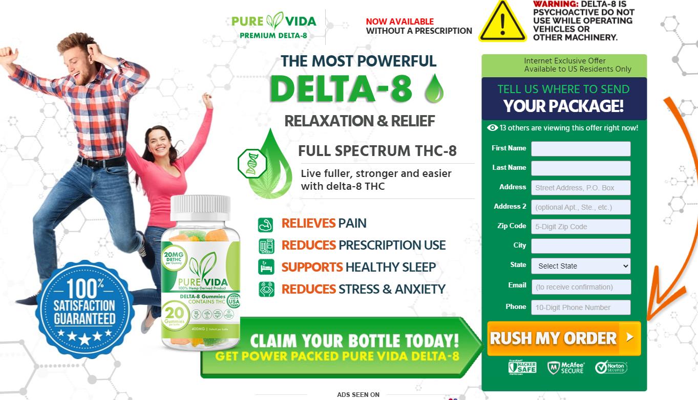 Pure Vida Delta-8 Gummies - Reduces Prescription Use & Relieves Pain!